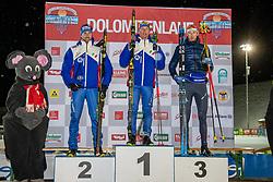 18.01.2019, Biathlonzentrum, Obertilliach, AUT, Dolomitenlauf, Dolomitensprint, im Bild 2. Platz Enrico Nizzi (ITA), 1. Platz Steafan Zelger (ITA), 3. Platz Max Olex (GER) // during the sprint competition of the Dolomitenlauf at the Biathlonzentrum in Obertilliach, Austria on 2019/01/18. EXPA Pictures © 2019, PhotoCredit: EXPA/ Dominik Angerer