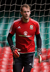 CARDIFF, WALES - Saturday, March 26, 2016: Wales' goalkeeper Owain Fon Williams during a training session at the Millennium Stadium ahead of the International Friendly match against Ukraine. (Pic by David Rawcliffe/Propaganda)