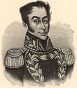 Simon Bolivar, the Liberator (Simon Jose Antonio de la Santisima Trinidad Bolivar Palacios y Blanco - 1783-1830) born in Caracas, Venezuela. South American revolutionary leader. Engraving.