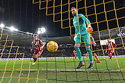 Brentford defender John Egan (14) scores goal to go 3-2 during the EFL Sky Bet Championship match between Hull City and Brentford at the KCOM Stadium, Kingston upon Hull, England on 9 December 2017. Photo by Ian Lyall.