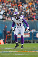 25 November 2012: Safety (41) Mistral Raymond of the Minnesota Vikings in game action against the Chicago Bears during the second half of the Bears 28-10 victory over the Vikings in an NFL football game at Soldier Field in Chicago, IL.