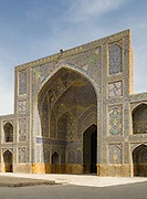 West Iwan. Imam Mosque (Masjed-e Imam), is a mosque in Isfahan, Iran standing in south side of Naghsh-i Jahan Square. Built 1611 - 1629. Architect: Shaykh Bahai
