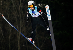 Lucile Morat of France soaring through the air during Trial Round at Day 1 of World Cup Ski Jumping Ladies Ljubno 2019, on February 8, 2019 in Ljubno ob Savinji, Slovenia. Photo by Matic Ritonja / Sportida