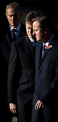 © London News Pictures. 11/11/2012. London, UK.  L to R  Tony Blair, Nick Clegg and David Cameron  during a Remembrance Day Ceremony at the Cenotaph on November 11, 2012 in London, United Kingdom. Photo Credit: Ben Cawthra/LNP