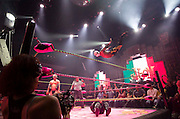 Wrestlers perform during Lucha VaVoom's Cinco de Mayan show at the Mayan Theatre on May 4, 2012 in Los Angeles.  Lucha VaVoom is a mixture of Lucha libre, or masked Mexican wrestling and striptease.  Michael Yanow