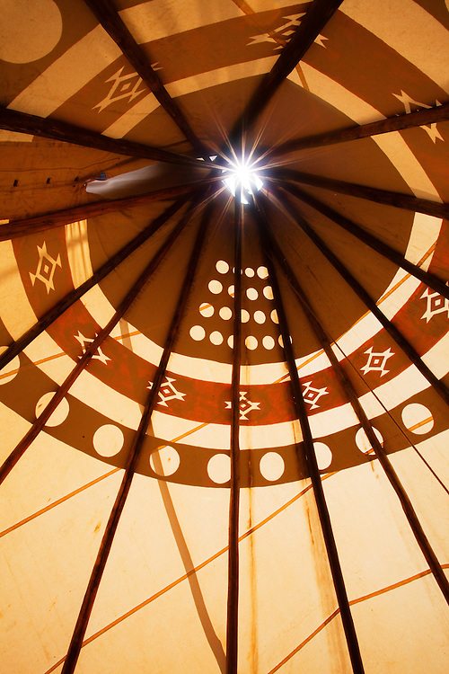 Interior of a tipi. Taos, New Mexico.