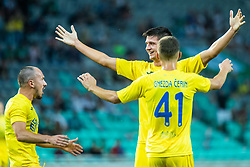 Players of NK Domzale celebrating after second goal during football match between NK Olimpija and NK Domzale in 2nd Round of Prva liga Telekom Slovenije 2019/20, on July 21st, 2019, in Stadium Stozice, Ljubljana, Slovenia. Photo by Grega Valancic / Sportida