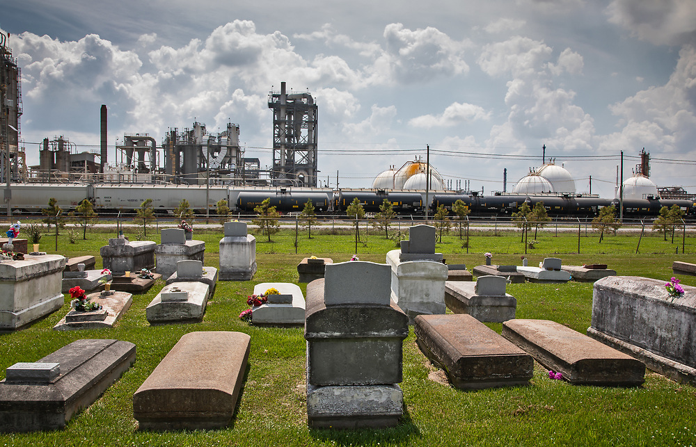 The Reveille Town Cemetery in Plaquemine, Louisiana. The cemetery is located within the fenceline of Westlake Chemical plant that controls acess to it.