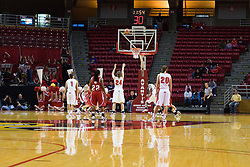 20 November 2010: Emily Hanley gets a free shot during an NCAA Womens basketball game between the Southern Illinois-Edwardsville Cougars and the Illinois State Redbirds at Redbird Arena in Normal Illinois.