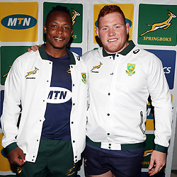 PARIS, FRANCE - NOVEMBER 08: Sbusiso Nkosi with Steven Kitshoff during the South African national rugby team announcement media conference at Pullman Paris Centre Hotel on November 08, 2018 in Paris, France. (Photo by Steve Haag/Gallo Images)