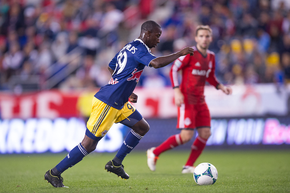HARRISON, NJ - SEPTEMBER 14:  Bradley Wright-Phillips #99 of New York Red Bulls prepares to kick the ball during the game against the Toronto FC at Red Bulls Arena on September 14, 2013. (Photo By: Rob Tringali)