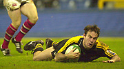 London. Great Britain. Fraser WATERS, skidding in for  a breakaway try during the Heineken Cup London Wasps v Ulster Match, played at Loftus Road, West London. 06/01/2002.  [Mandatory Credit;  Peter Spurrier/Intersport Images]..