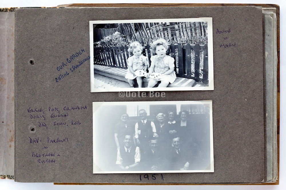 happy childhood moments photo album page 1950s England