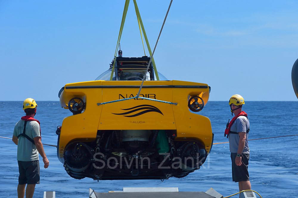 Nadir submersible being launched. Central equatorial Atlantic Ocean, Saint Peter and Saint Paul Archipelago, Brazil #STP17 [first published through bioGraphic, a program of the California Academy of Sciences] |