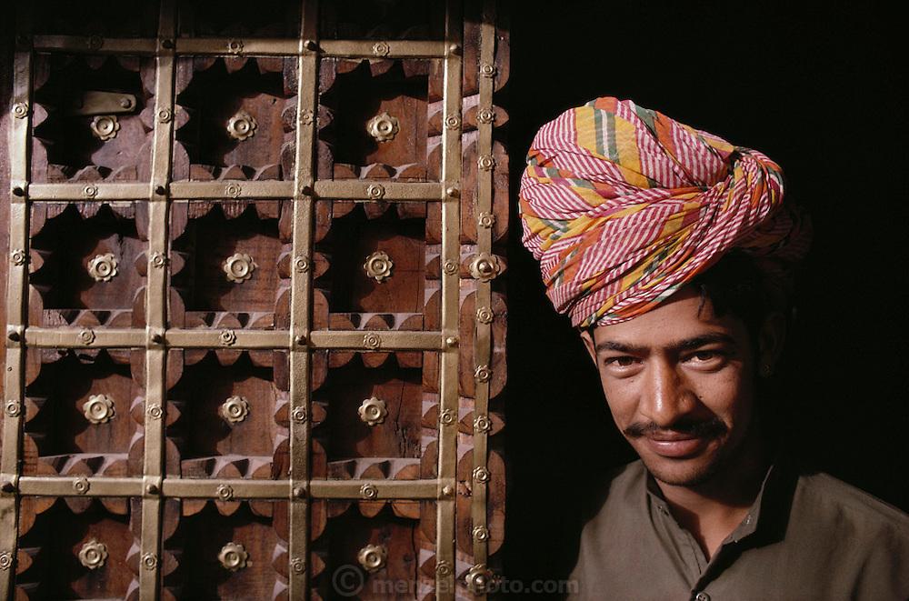 Door man at the Bhawan Palace Hotel in Jodhpur, Rajasthan, India.