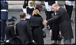 Mark Thatcher comforts his sister Carol as they attend Lady Thatcher's funeral at St Paul's Cathedral following her death last week, London, UK, Wednesday 17 April, 2013, Photo by: Andrew Parsons / i-Images