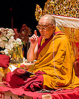 Dalai Lama XIV speaks at the Beacon Theatre in New York City.