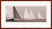 Nautical art photograph of 12 Meter Class sailboats American Eagle, Columbia, Weatherly, and Nefertiti racing at the Nantucket 12 Meter Regatta.