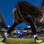 Seattle Seahawks running back Alex Collins (36) before an NFL regular season game against the Buffalo Bills on Monday, Nov. 7, 2016 in Seattle. The Seahawks won, 31-25. (Ric Tapia via AP)