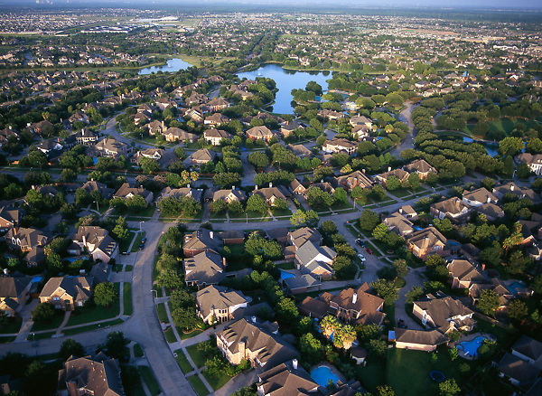 Stock photo of the aerial view of the Cinco Ranch neighborhood in Houston Texas