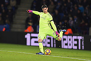 Chelsea goalkeeper Thibaut Courtois (13) during the Premier League match between Leicester City and Chelsea at the King Power Stadium, Leicester, England on 14 January 2017. Photo by Jon Hobley.