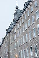 Laval University in the Historic District of Old Québec, and UNESCO World Heritage site during winter. Québec, Québec, Canada. January 2012. © Allen McEachern.