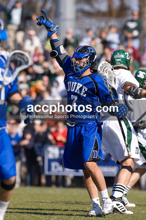 24 February 2007: Duke Blue Devils attackman Gibbs Fogarty (7) in a 11-17 victory over Dartmouth at Koskinen Stadium in Durham, NC.