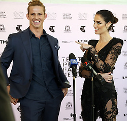 AU_1337096 - Perth, AUSTRALIA  -  Nicole Trunfio and Nat Fyfe hold a press conference before a dress rehearsal before the closing of the Perth Fashion Festival at Optus Stadium in Perth, Western Australia<br /> <br /> Pictured: Nicole Trunfio and Nat Fyfe<br /> <br /> BACKGRID Australia 14 SEPTEMBER 2018 <br /> <br /> BYLINE MUST READ: FAMO / BACKGRID<br /> <br /> Phone: + 61 2 8719 0598<br /> Email:  photos@backgrid.com.au