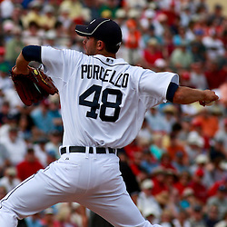 March 9, 2011; Lakeland, FL, USA; Detroit Tigers starting pitcher Rick Porcello (48) during a spring training exhibition game against the Philadelphia Phillies at Joker Marchant Stadium.   Mandatory Credit: Derick E. Hingle