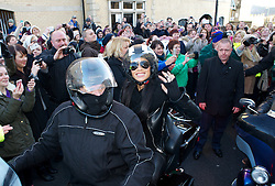 © Licensed to London News Pictures. 04/12/2012..Saltburn, England..The X Factor finalist James Arthur visits his home town of Saltburn by the Sea in Cleveland. Accompanied by his mentor through the series, Nicole Scherzinger, they arrived on the back of Harley Davidson motor cycles before visiting the Victoria Pub on Dundas Street in the town. During the visit they were greeted by hundreds of people from the town and the surrounding area...Later that evening James Arthur was performing at the Middlesbrough Town Hall in front of many hundreds of local fans...Photo credit : Ian Forsyth/LNP