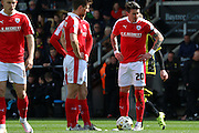 Barnsley midfielder Adam Hammill prepares for a free kick during the Sky Bet League 1 match between Burton Albion and Barnsley at the Pirelli Stadium, Burton upon Trent, England on 16 April 2016. Photo by Aaron  Lupton.