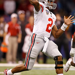 January 4, 2011; New Orleans, LA, USA;  Ohio State Buckeyes quarterback Terrelle Pryor (2) looks to pass during the first quarter of the 2011 Sugar Bowl against the Arkansas Razorbacks at the Louisiana Superdome.  Mandatory Credit: Derick E. Hingle