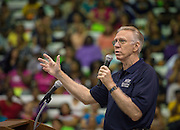 Houston ISD Nutrition Services executive general manager Ray Danilowicz comments during a welcome back to staff at Barnett Field House, August 18, 2014.