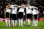 Fulham huddle before the Premier League match between Fulham and Leicester City at Craven Cottage, London, England on 5 December 2018.