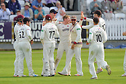 Dom Bess of Somerset celebrates taking the wicket of Brett Hutton of Nottinghamshire who was caught by Craig Overton of Somerset during the Specsavers County Champ Div 1 match between Somerset County Cricket Club and Nottinghamshire County Cricket Club at the Cooper Associates County Ground, Taunton, United Kingdom on 21 September 2016. Photo by Graham Hunt.