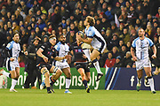 Mid-air catch by Francois Steyn during the Heineken Champions Cup match between Edinburgh Rugby and Montpellier Herault Rugby at BT Murrayfield Stadium, Edinburgh, Scotland on 18 January 2019.