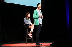 Maria Oszova Johnson (green jacket) and Olivia Anderson team up to speak at TEDx Tacoma on Saturday, March 21, 2015. (Photo: John Froschauer/PLU)