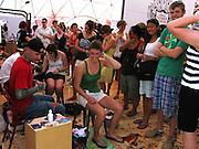 A temporary tattoo parlour at the Austin City Limits Music Festival, Austin Texas, September 26 2008.