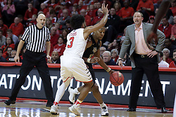 20 March 2017:  Matt Williams dribbles in against Keyshawn Evans(3) during a College NIT (National Invitational Tournament) 2nd round mens basketball game between the UCF (University of Central Florida) Knights and Illinois State Redbirds in  Redbird Arena, Normal IL
