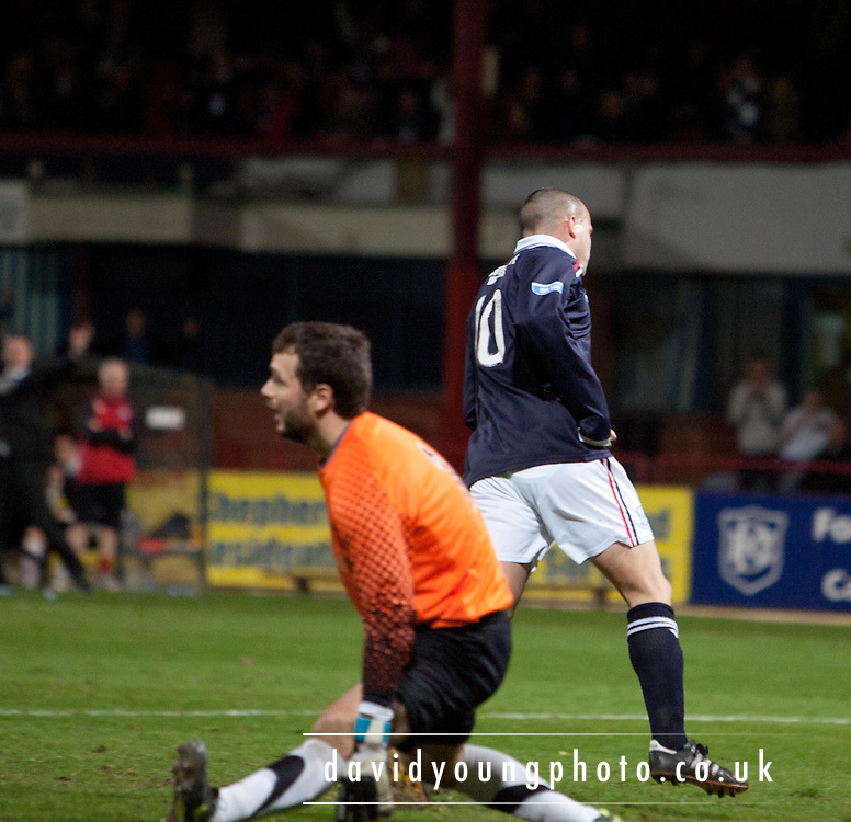 Dundee's Steven Milne wheels away after scoring his side's third goal - Dundee v Ayr United, Irn Bru Scottish Football League First Division at Dens Park..© David Young - 5 Foundry Place - Monifieth - DD5 4BB - Telephone 07765 252616 - email; davidyoungphoto@gmail.com - web; www.davidyoungphoto.co.uk