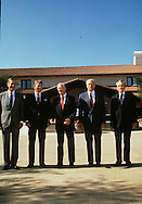 Five presidents pose for a photograph at the opening of the Ronald Reagan Library ...Photograph by Dennis Brack bb 27