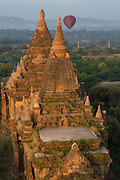 Ballooning over Bagan ancient Buddhist temples, Burma