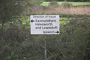 East Suffolk rail line direction of travel sign, Melton, Suffolk, England