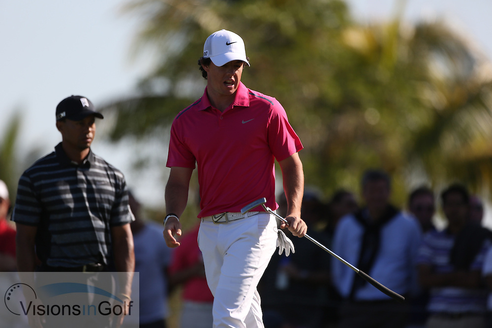 Tiger Woods Rory McIlroy<br /> at the Cadillac WGC Doral, Miami, USA<br /> March 2013<br /> Picture Credit:  Mark Newcombe / www.visionsingolf.com
