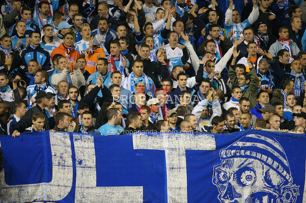 Liverpool, England - Wednesday, October 3, 2007: Olympique de Marseille fans during the UEFA Champions League Group A match at Anfield. (Photo by David Rawcliffe/Propaganda)