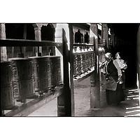 Pilgrims at the Jokhang Temple in Lhasa, Tibet, 1987.
