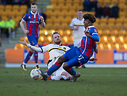 24th March 2018, McDiarmid Park, Perth, Scotland; Scottish Football Challenge Cup Final, Dumbarton versus Inverness Caledonian Thistle; Danny Handling of Dumbarton and Collin Seedorf of Inverness Caledonian Thistle battle for the ball