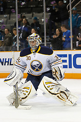 January 6, 2011; San Jose, CA, USA; Buffalo Sabres goalie Ryan Miller (30) warms up before the game against the San Jose Sharks at HP Pavilion. Buffalo defeated San Jose 3-0. Mandatory Credit: Jason O. Watson / US PRESSWIRE
