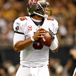 November 6, 2011; New Orleans, LA, USA; Tampa Bay Buccaneers quarterback Josh Freeman (5) against the New Orleans Saints during the first quarter of a game at the Mercedes-Benz Superdome. Mandatory Credit: Derick E. Hingle-US PRESSWIRE