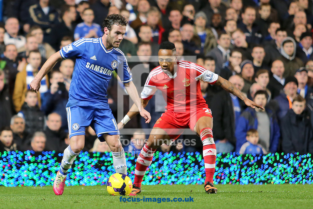 Picture by Richard Calver/Focus Images Ltd +447792 981244<br /> 01/12/2013<br /> Juan Mata of Chelsea and Nathaniel Clyne of Southampton during the Barclays Premier League match at Stamford Bridge, London.